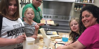 Flores, Erica, Jeremiah, Kira, and Aymee making ravioli.
