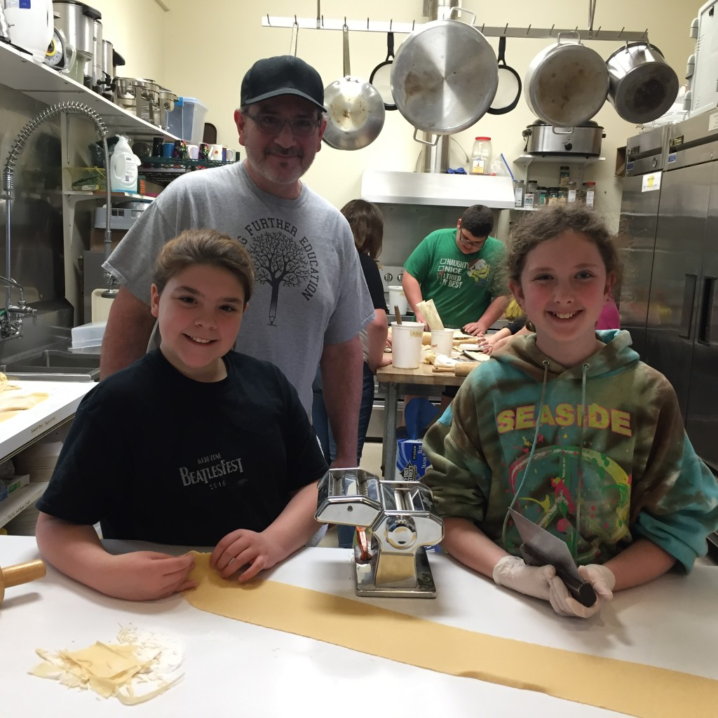 Kalie, Robert and Kelsey making pasta from scratch!