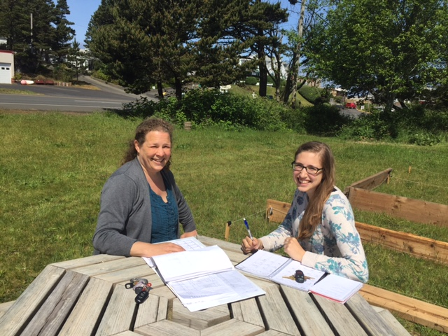 Heide and Ramsey enjoy the sun and get more planning done!