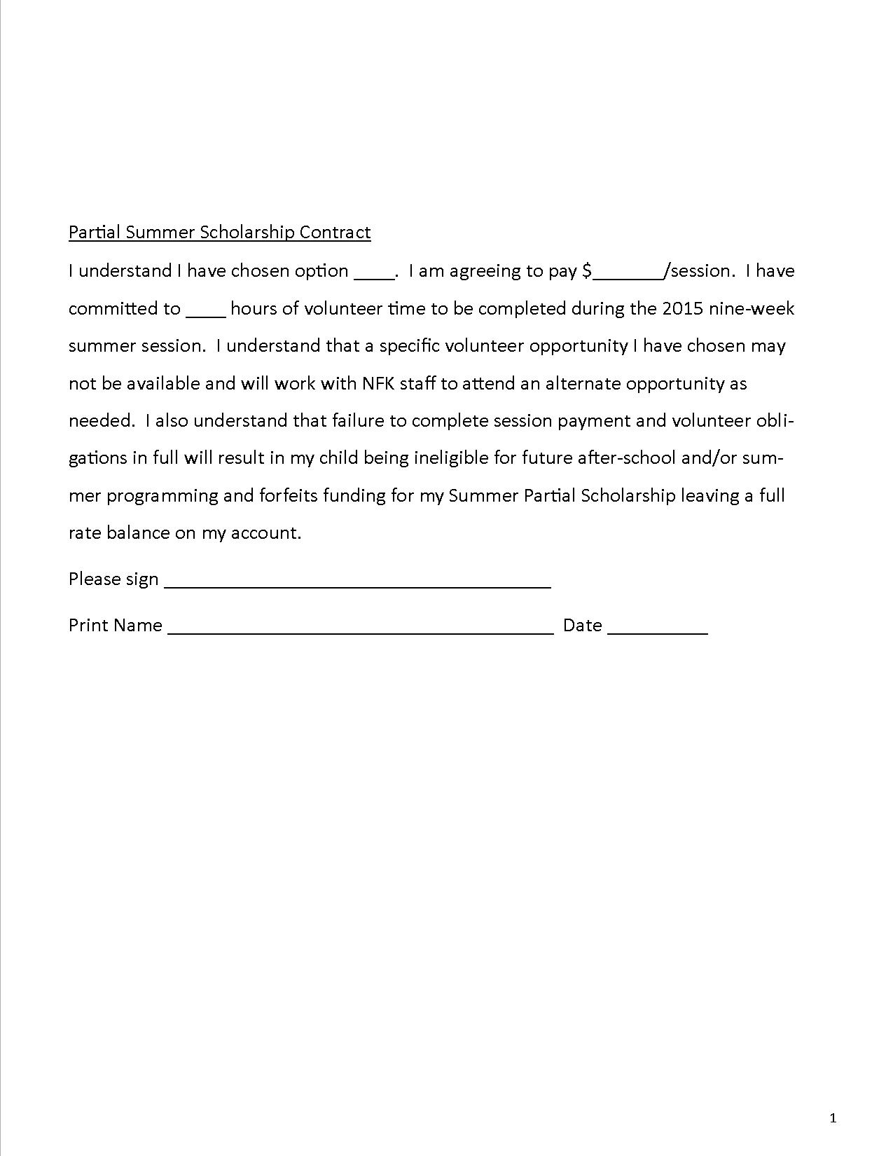 Summer Scholarship Contract p2
