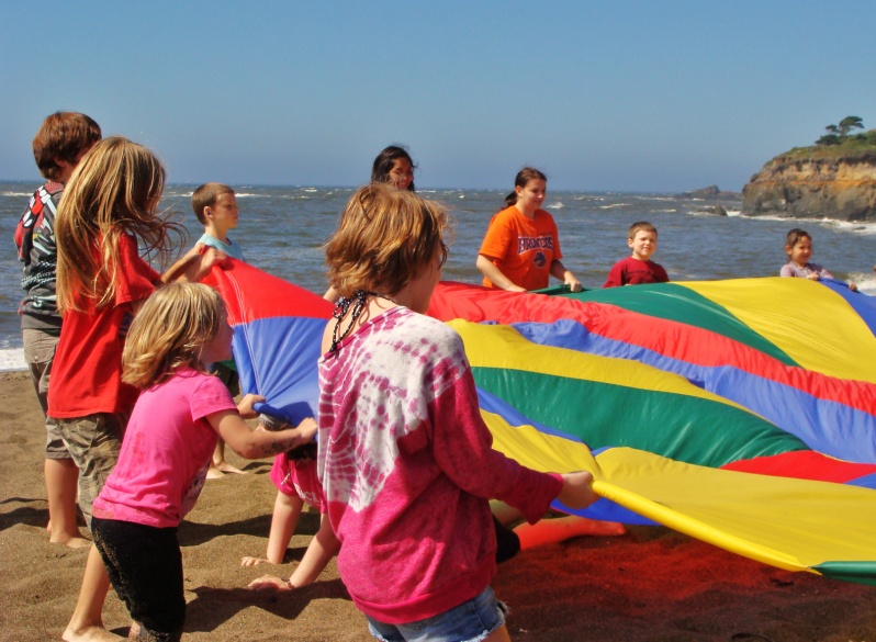 kids gettiing ready to fling up the rainbow